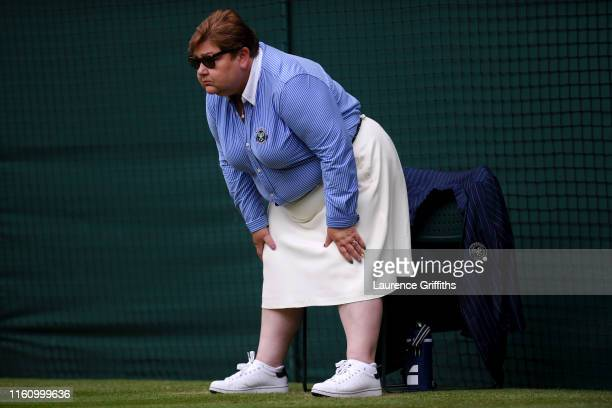 Line judge looks on at Centre Court during Day Eight of The Championships - Wimbledon 2019 at All England Lawn Tennis and Croquet Club on July 09,...