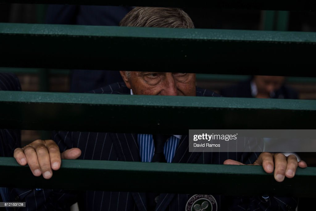 A Line judge looks through the door of Court 18 on day seven of the Wimbledon Lawn Tennis Championships at the All England Lawn Tennis and Croquet Club on July 10, 2017 in London, England.