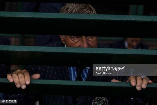 Line judge looks through the door of Court 18 on day seven of the Wimbledon Lawn Tennis Championships at the All England Lawn Tennis and Croquet Club...