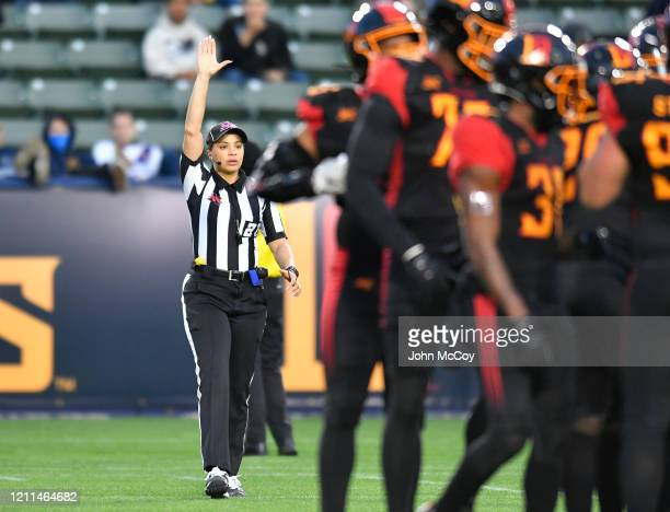 Line Judge Maia Chaka during a game between LA Wildcats and Tampa Bay Vipers at Dignity Health Sports Park during an XFL game on March 8 2020 in...