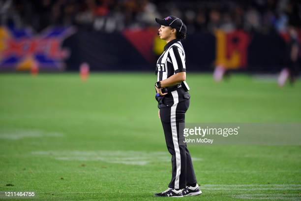 Line Judge Maia Chaka during a game between LA Wildcats and Tampa Bay Vipersat Dignity Health Sports Park during an XFL game on March 8 2020 in...