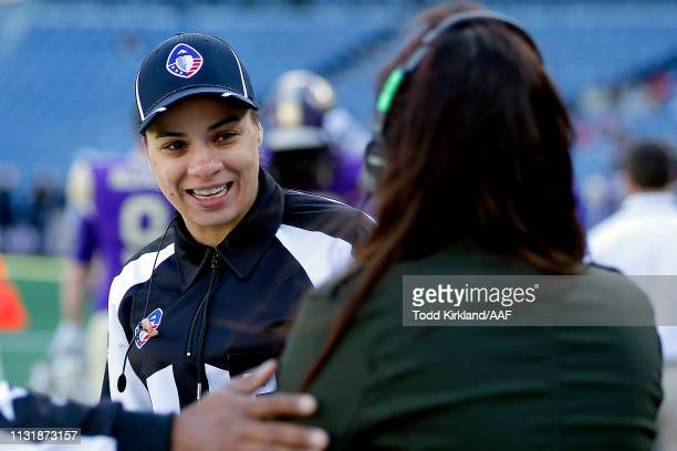 Line Judge Maia Chaka is seen prior to the Alliance of American Football game between the Atlanta Legends and the Birmingham Iron at Georgia State...