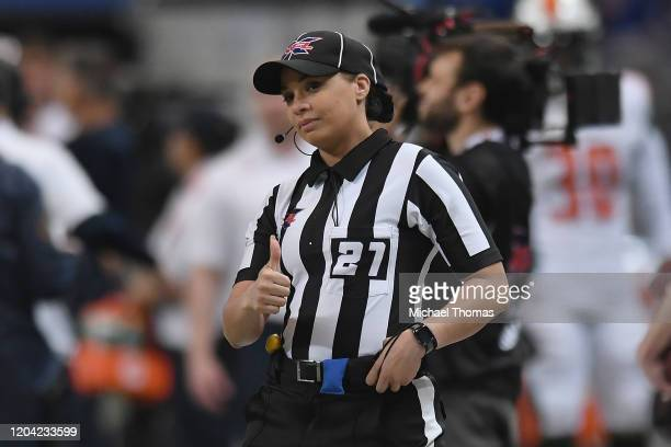 Line Judge Maia Chaka looks on prior to an XFL game between the St Louis Battlehawks and the Seattle Dragons at the Dome at America's Center on...