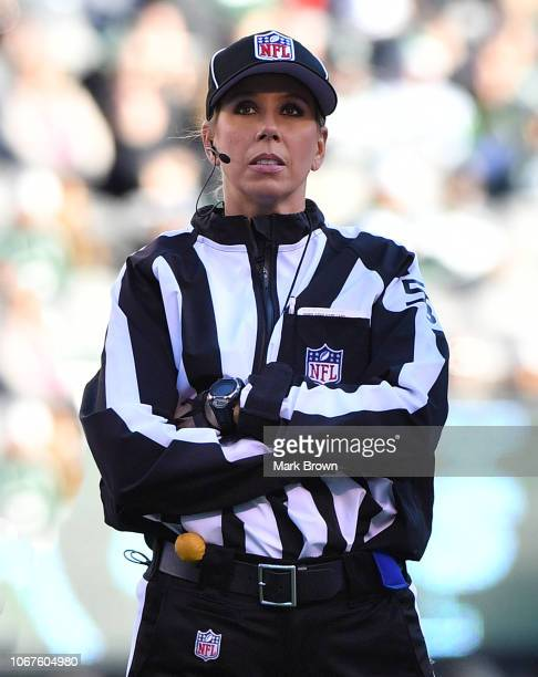 Line judge Sarah Thomas in action during the game between the New York Jets and the Buffalo Bills at MetLife Stadium on November 11 2018 in East...