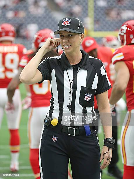 Line Judge Sarah Thomas looks on before the Houston Texans play the Kansas City Chiefs in a NFL game on September 13 2015 at NRG Stadium in Houston...