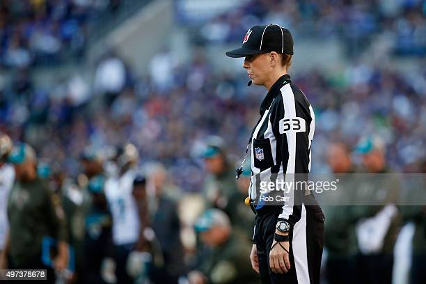 Line Judge Sarah Thomas looks on during the second half of the Baltimore Ravens and Jacksonville Jaguars game at MT Bank Stadium on November 15 2015...