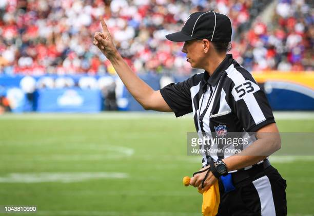 Line judge Sarah Thomas makes a call during the Los Angeles Chargers game against the San Francisco 49ers at StubHub Center on September 30 2018 in...