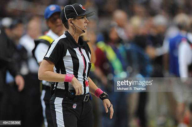 Line Judge Sarah Thomas referees during a game between the St Louis Rams and Cleveland Browns at the Edward Jones Dome on October 25 2015 in St Louis...