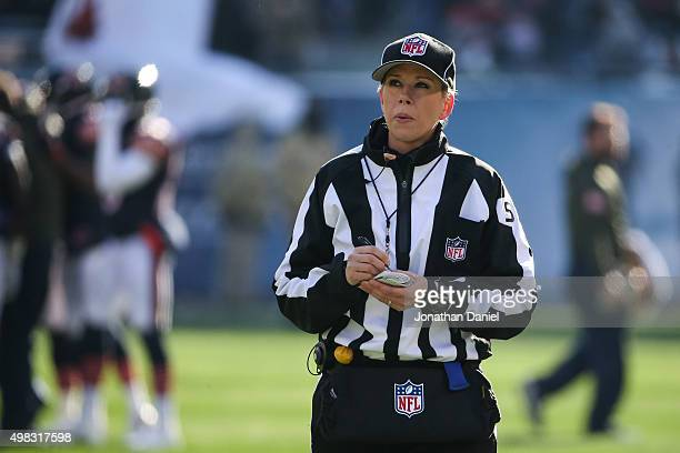 Line Judge Sarah Thomas stands on the field during the NFL game between the Chicago Bears and the Denver Broncos at Soldier Field on November 22 2015...