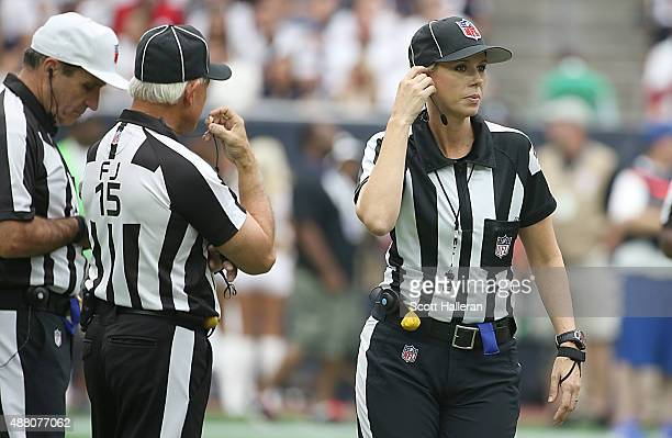 Line Judge Sarah Thomas works the game between the Houston Texans and the Kansas City Chiefs in the second half in a NFL game on September 13 2015 at...