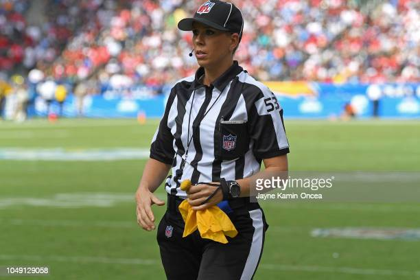 Line judge Sarah Thomas works the game between the Los Angeles Chargers and the San Francisco 49ers StubHub Center on September 30 2018 in Carson...