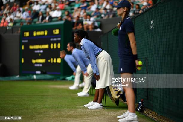 Line judges watch on during Day five of The Championships - Wimbledon 2019 at All England Lawn Tennis and Croquet Club on July 05, 2019 in London,...