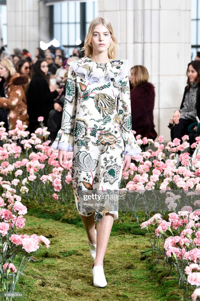 Line Kjaergaard walks the runway at the Tory Burch Fall Winter 2018 Fashion Show during New York Fashion Week at Bridge Market on February 9, 2018 in New York City.