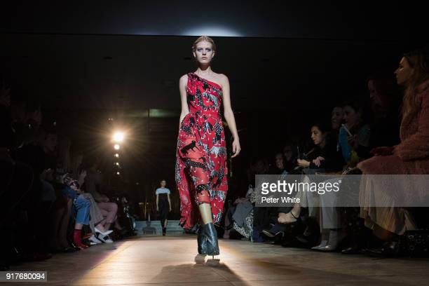 Line Kjaergaard walks the runway for Carolina Herrera during New York Fashion Week at The Museum of Modern Art on February 12 2018 in New York City