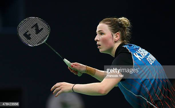 Line Kjaersfeldt of Denmark awaits a serve during the Women's Badminton round of 16 match against Jeanine Cicognini of Italy on day thirteen of the...