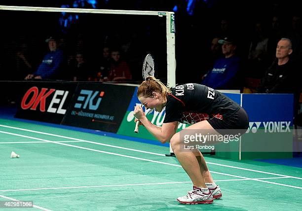 Line Kjarsfeldt celebrate her gold medal after the Finals at the Danish Badminton Championships at Frederiksberg Hallen on February 8 2015 in...
