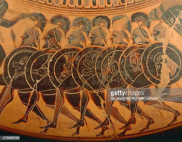Line of armed soldiers decorative detail from an Attic vase blackfigure pottery Greek civilisation 6th century BC Naples Museo Archeologico Nazionale