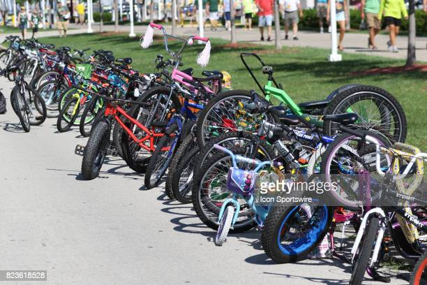 A line of bikes wait for Packers players to return to the locker room during Green Bay Packers Training Camp on July 27 2017 at Ray Nitschke Field in...