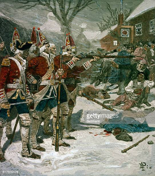 A line of British Soldiers fires on a crowd of unarmed colonists in an attack that came to be known as the Boston Massacre The Massacre was used by...
