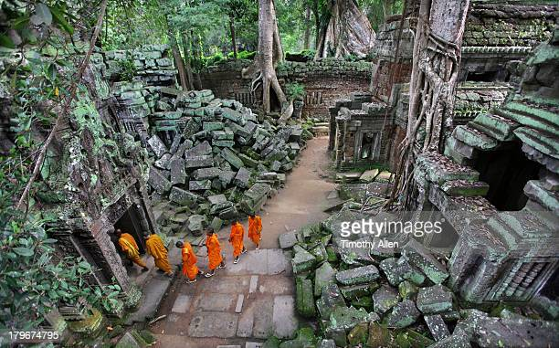 Line of Buddhist monks walking through temple ruin