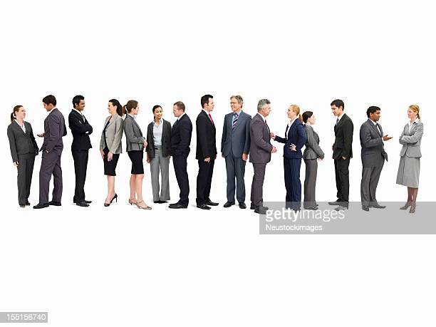 line of businesspeople talking - isolated - people in a row stock pictures, royalty-free photos & images