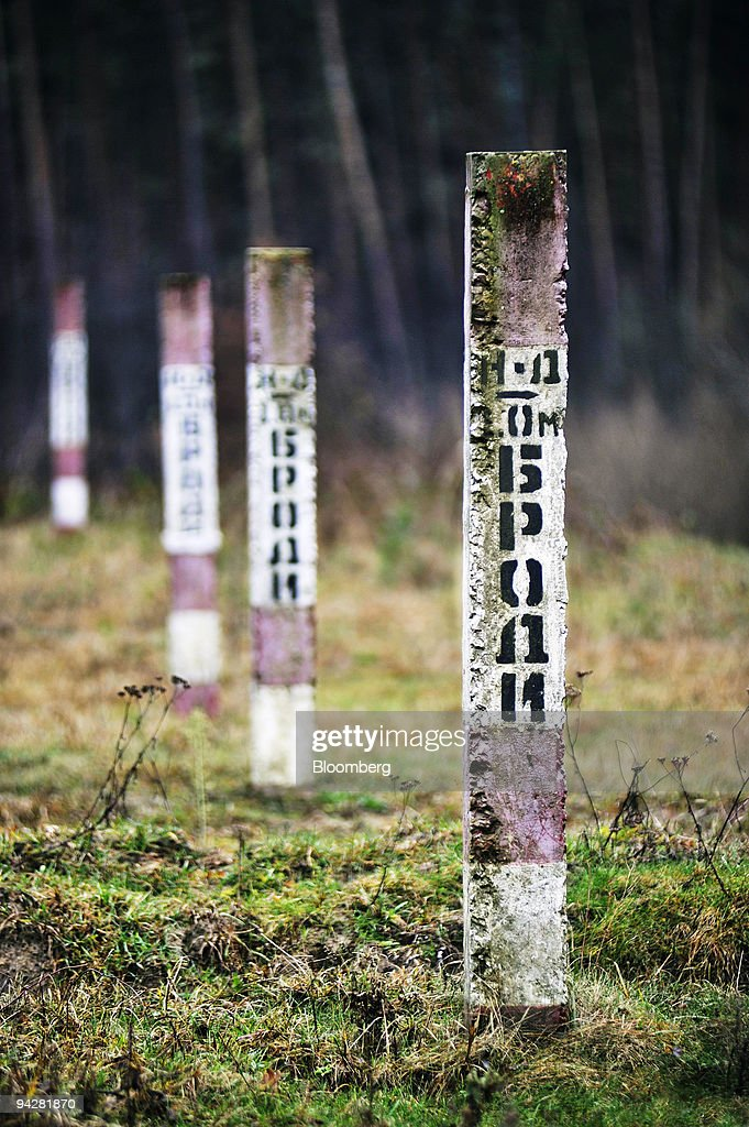 A line of concrete posts indicate the location of the Odessa-Brody pipeline as it approches the UkrTransNafta operated terminal near Brody, Ukraine, on Saturday, Dec. 5, 2009. Ukraine plans to create a stockpile of oil and oil-based products at an estimated cost of 23 billion hryvnias ($2.87 billion), the Fuel and Energy Ministry said. Photographer: John Guillemin/Bloomberg via Getty Images
