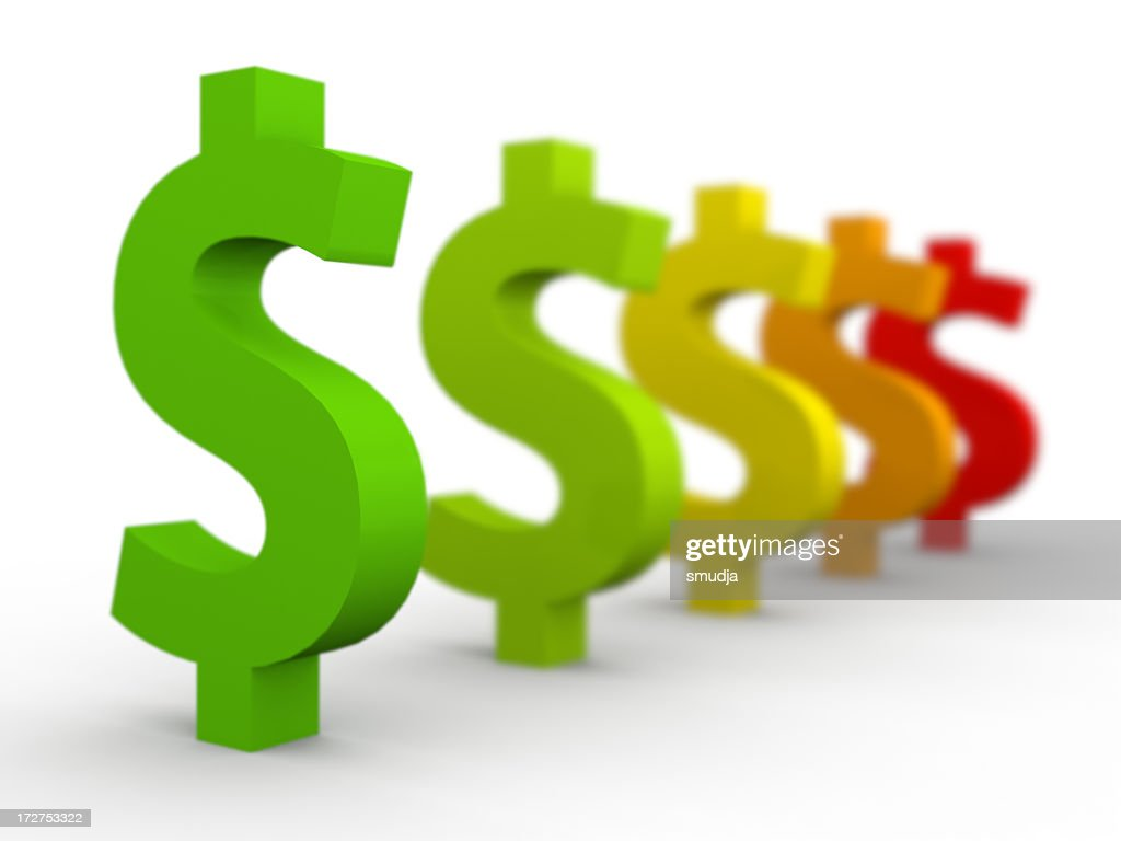 Line of dollar signs in multiple colors : Stock Photo