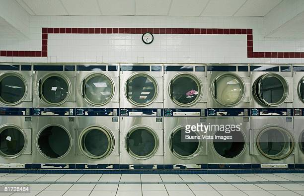 Line of dryers in laundrymat