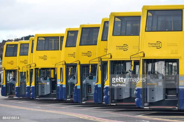 A line of Dublin Buses seen in Broadstone Depot in Phibsborough On Thursday March 16 in Dublin Ireland