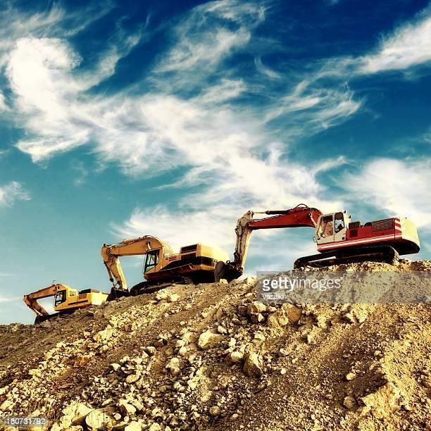 Line of excavators