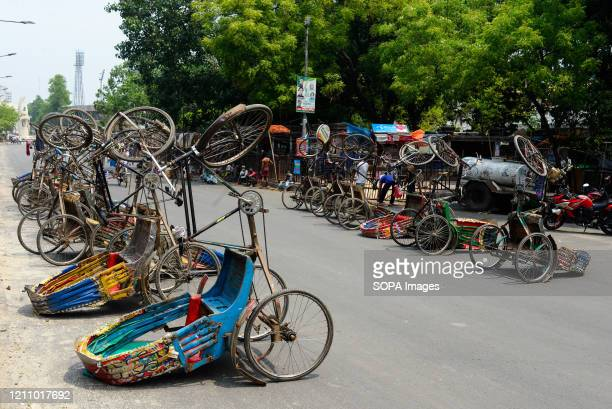 Line of inverted Rickshaws seen on the street during a nationwide lockdown. Due to the COVID-19 pandemic, Bangladesh Government restricted all kinds...