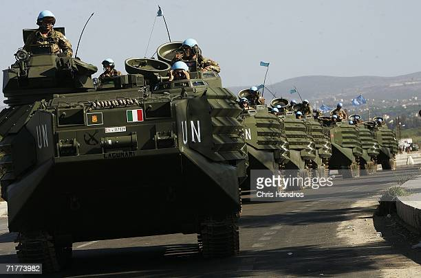 A line of Italian amphibious vehicles prepares to convoy into southern Lebanon on a United Nations peacekeeping mission September 2 2006 outside of...