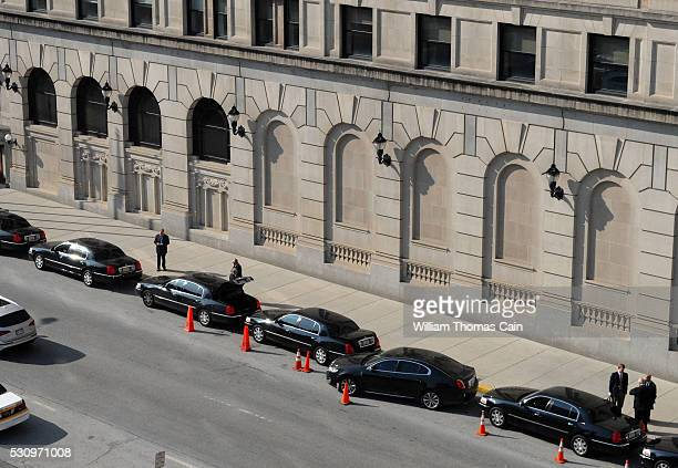 A line of limousines awaits Ford executives as they meet with shareholders during the Ford 61st Annual Meeting of Shareholders at the Hotel DuPont on...