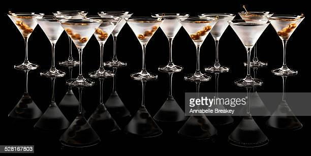 Line of Martinis with Gold Olives