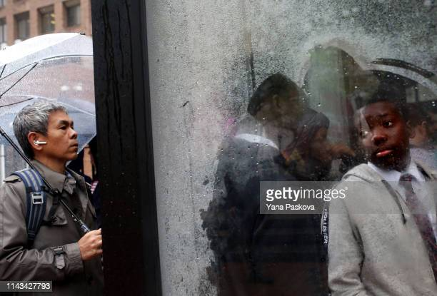 A line of people awaits entry to the trial of Officer Daniel Pantaleo at One Police Plaza on May 13 2019 in New York City Officer Pantaleo faces...