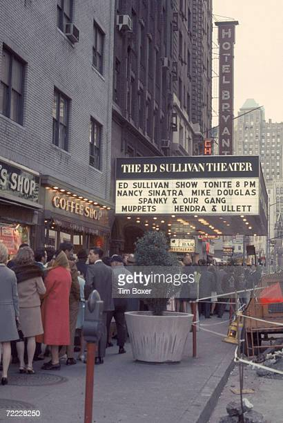 Line of people waits outside the Ed Sullivan Theater in the hopes of becoming the studio audience for the Ed Sullivan show, May 1968. The episode,...