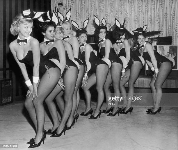 A line of Playboystyle 'bunny girls' at Paul Raymond's Bal Tabarin nightclub in Hanover Square London 11th February 1963