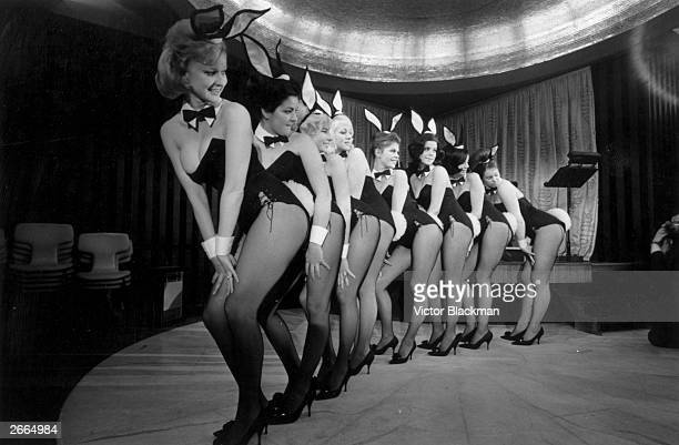 A line of Playboystyle 'bunny girls' including Maureen Hayden and Marianne Hunt at Paul Raymond's Bal Tabarin nightclub in Hanover Square London 11th...