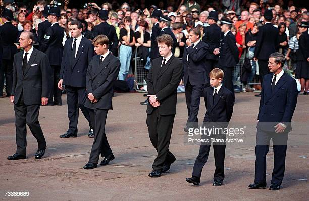 Line of princes following the Princess of Wales' coffin after the funeral service at Westminster Abbey, 6th September 1997. From left to right,...