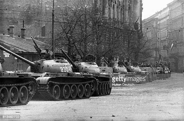 A line of Russian tanks in Budapest during the army's supression of the 1956 anticommunist uprising by the Hungarian people