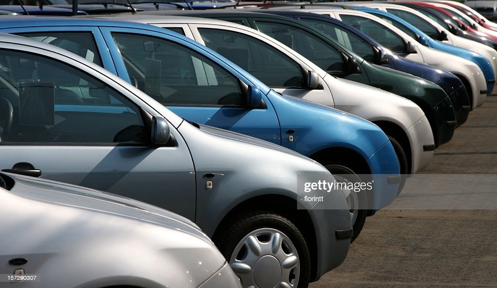 911b1e7fbf192 Line Of Same Model Used Cars With Different Colors Stock Photo ...