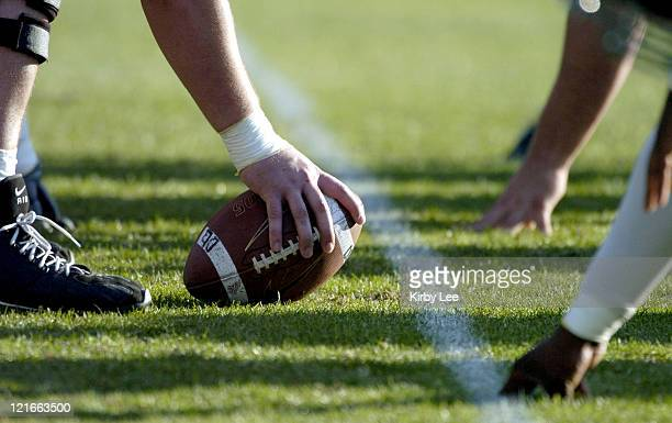 Line of scrimmage during USC spring football practice at Howard Jones Field on the campus of the University of Southern California in Los Angeles,...