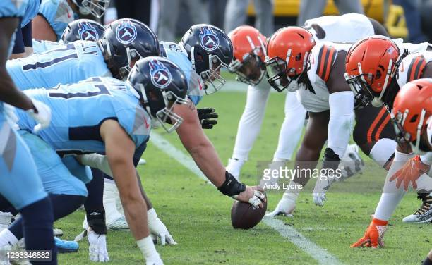 Line of scrimmage of the Tennessee Titans against the Cleveland Browns at Nissan Stadium on December 06, 2020 in Nashville, Tennessee.