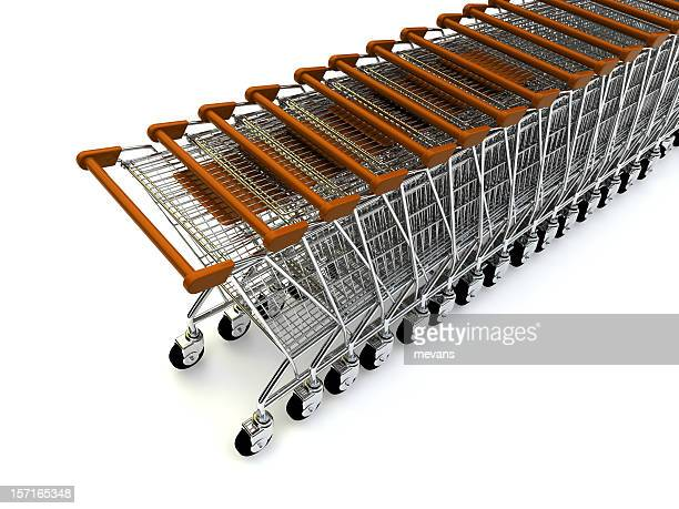 A Line of shopping trolleys with red handles