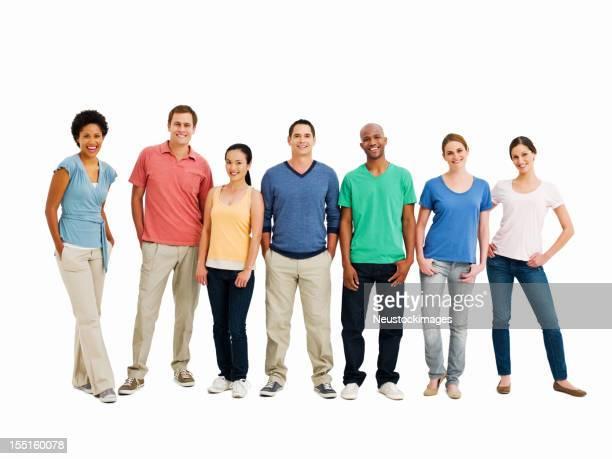 Línea de sonriendo adultos jóvenes aislados