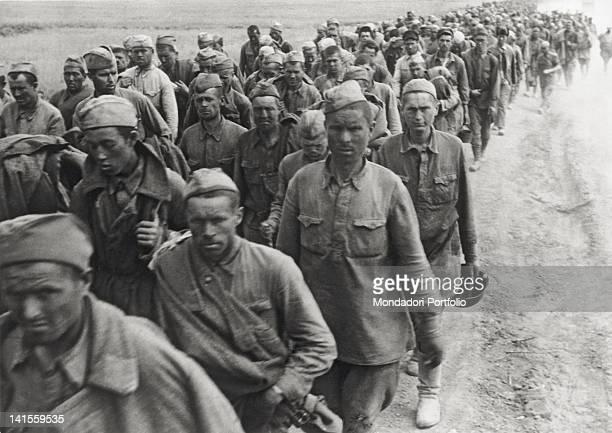 Line of Soviet prisoners leaves Stalingrad, present Volgograd. Stalingrad, September 1942