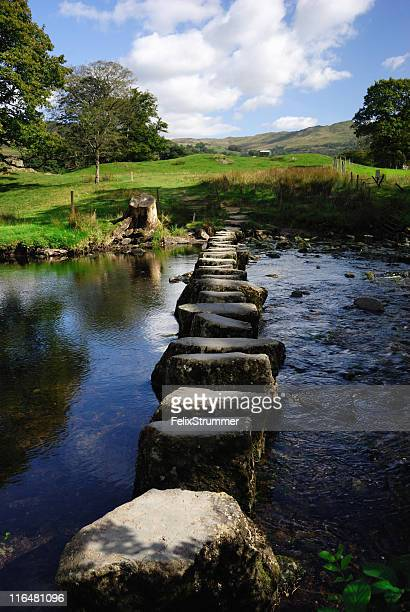 line of stepping stones in the middle of a river - cumbria stockfoto's en -beelden