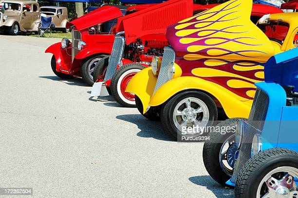 line of streetrod and hotrod cars at car show - hot rod car stock photos and pictures