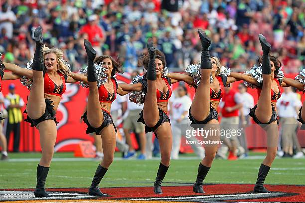 A line of Tampa Bay Buccaneers cheerleaders entertain the fans during the NFL Game between the Seattle Seahawks and Tampa Bay Buccaneers on November...