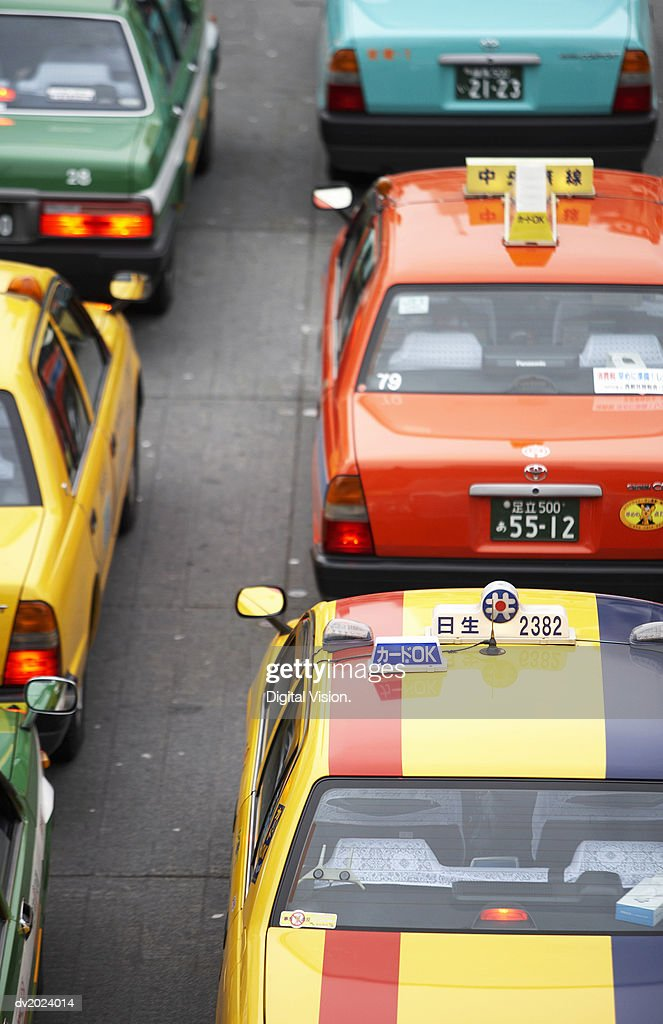 Line of Taxis, Japan : Stock Photo